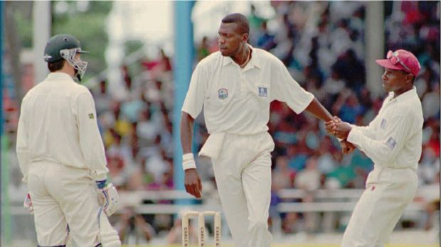 West Indies cricket captain Richie Richardson, right, pulls away his fast bowler Curtly Ambrose after an altercation ...