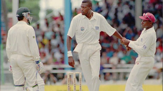 The way we were: Steve Waugh and Curtly Ambrose's famous confrontation in Port of Spain in 1995.