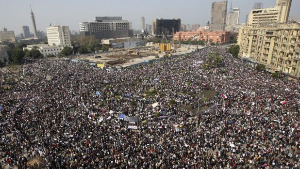 In the age of the internet, the easy part: a huge crowd gathers in Tahrir Square in Cairo to oppose Egyptian president ...