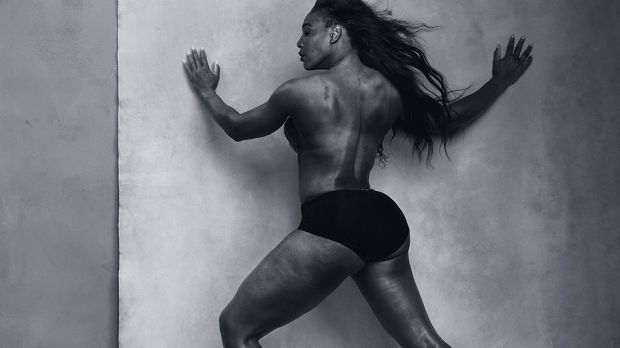 Serena Williams in topless version of the shot she posed for in Vogue.