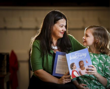 Jo Hirst launches her book <i>The Gender Fairy</i> with Evie, a 10-year-old trangender girl.