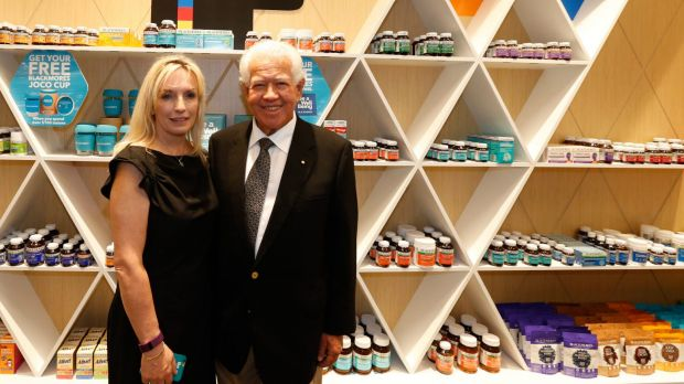 Blackmores CEO Christine Holgate and chairman Marcus Blackmore at the launch of the company's flagship store at ...