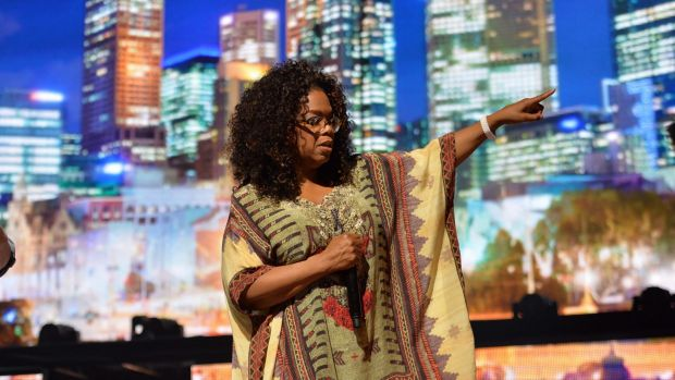 Oprah Winfrey's media call at Rod Laver Arena in Melbourne.