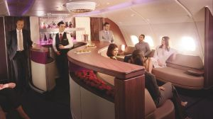 Qatar Airways' A380 lounge is the best place to mix and mingle with your fellow travellers.