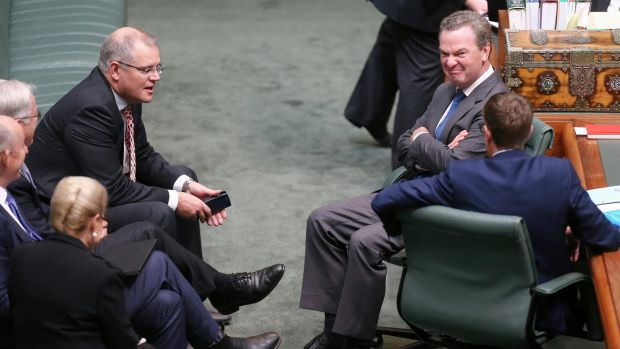 The government's leader of the house, Christopher Pyne (right), did not try to defend Mr Brough but instead gagged the ...