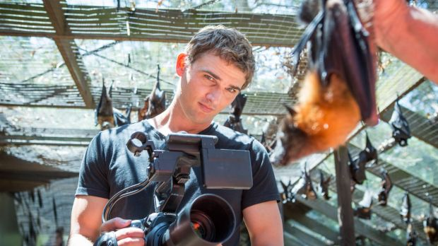 YouTuber Adam Cox filming at the Australian Bat Clinic and Wildlife Trauma Centre in the Gold Coast hinterland.