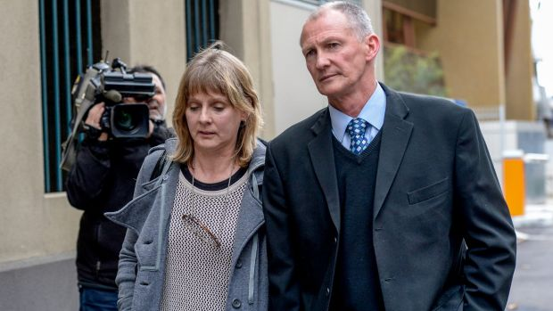 Kelly Thompson's neighbours Sheryl and Norman Paskin at the inquest into her murder.