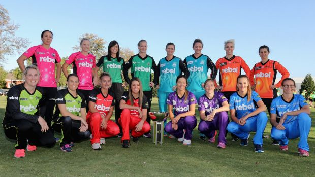 Representatives from each team at the launch of the Women's Big Bash League.