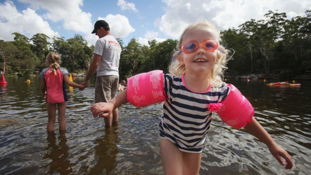 Get there early: Daisy, 3, enjoys a swim at Lake Parramatta.