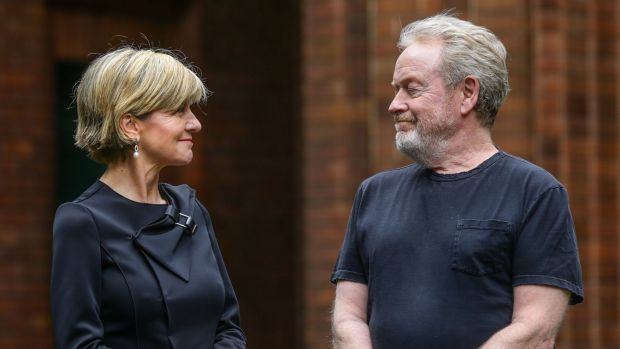 Planning to shoot three Alien films in Sydney ... director Ridley Scott, right, talks to Foreign Affairs Minister Julie ...