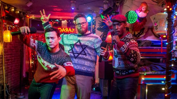 Seth Rogen wears his star of  David Christmas jumper in <i>The Night Before</i>, with left, Joseph Gordon-Levitt  and ...