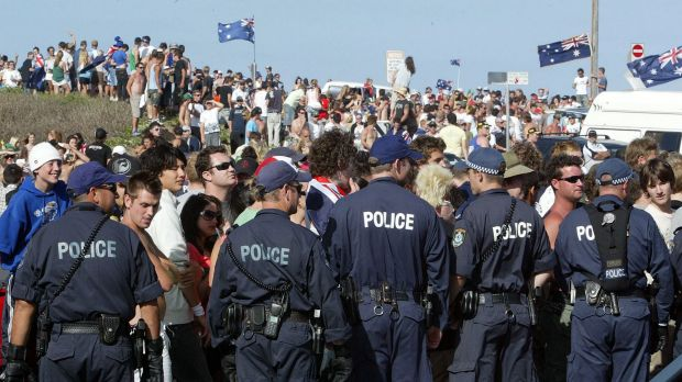 """Gangs of youths gathered at North Cronulla Beach in 2005 to """"take back the beach""""."""