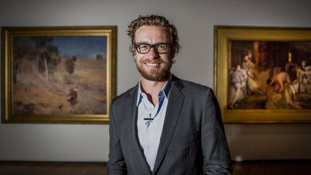 Actor Simon Baker at the The National Gallery of Australia's Tom Roberts exhibition.  The Canberra Times  Photo Jamila ...