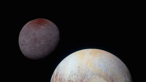 Pluto and its moon Charon taken by New Horizons on July 14, 2015.