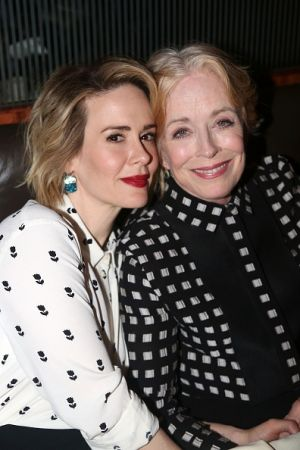 "Sarah Paulson and Holland Taylor pose at the Opening Night After-party for ""Ripcord"" in 2015."