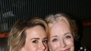 """Sarah Paulson and Holland Taylor pose at the Opening Night After-party for """"Ripcord"""" in 2015."""