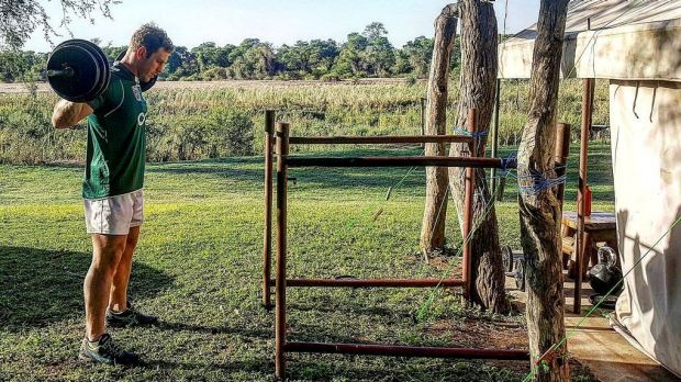 David Pocock in a makeshift gym in Zimbabwe.