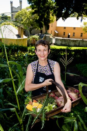 Jacqui Newling, colonial gastronomy expert, at Vaucluse House kitchen garden.