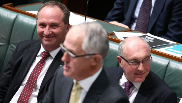 Agriculture Minister Barnaby Joyce, Prime Minister Malcolm Turnbull and Deputy Prime Minister Warren Truss.