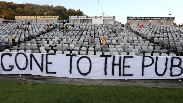 No fans, no fun: Central Coast Mariners fans let their feelings be known before the start of the match against Melbourne ...