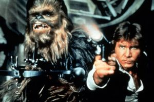 Han Solo as played in the original Star Wars films by actor Harrison Ford.