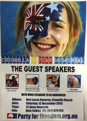 Flyers for a Cronulla riot memorial event have been circulated throughout Sydney.