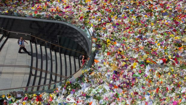 Thousands of floral tributes left in Martin Place following the Lindt cafe siege in 2014.