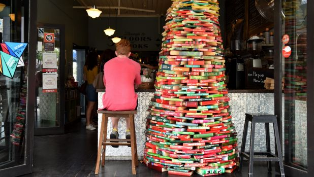 A book Christmas tree in Ampersand Cafe Bookstore in Paddington.