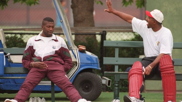 Back in the day: Curtly Ambrose and Phil Simmons at the SCG in 1997.