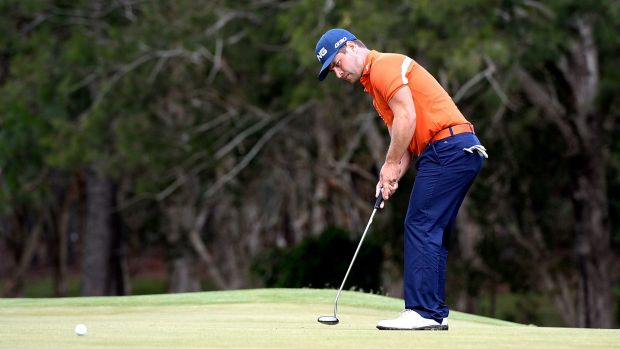 Golden day: Sweden's  David Lingmerth watches a putt during the second round of the Australian PGA Championship.