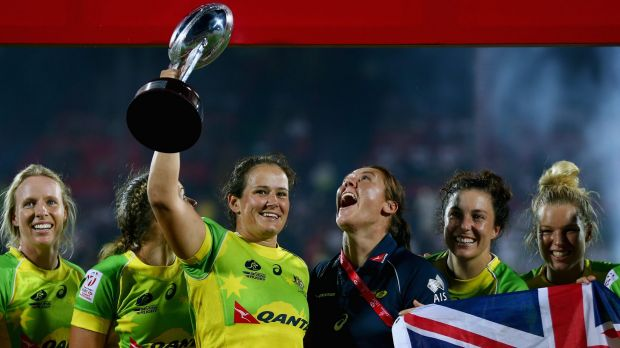 Women's sevens captain Sharni Williams, in blue, hopes they can forge their own identity in the Australian sporting ...