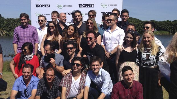 Delighted ... this year's Tropfest finalists at the announcement in Centennial Park that the festival is back on.