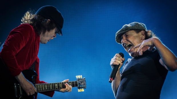 Guitarist Angus Young and Singer Brian Johnson  of AC/DC perform on stage during the legendary Australian rock band's ...