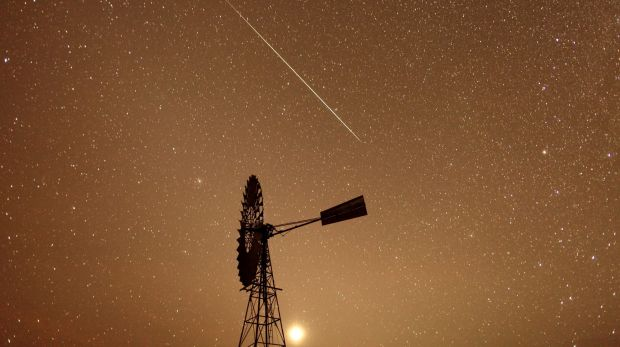 A meteor burns up in the atmosphere over the Spell Bore Yards in the Northern Territory last year.