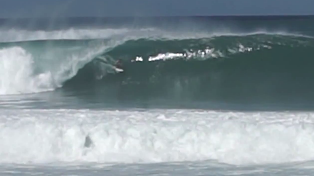 Evan Geiselman about to disappear into the barrel that sent him to hospital.