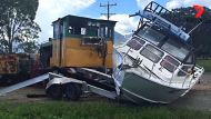 A cane train crashes into a fishing boat south of Cairns