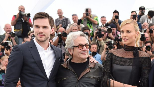 British actor Nicholas Hoult, Australian director George Miller and South African-US actress Charlize Theron of <i>Mad ...