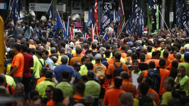 A massive CFMEU protest in December 2015.