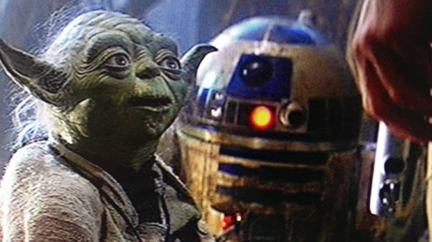 Yoda with R2D2 and Luke in <i>The Empire Strikes Back</i>.