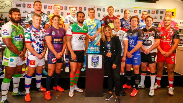 Jessica Mauboy fronts the team representatives at the launch of the Auckland Nines.