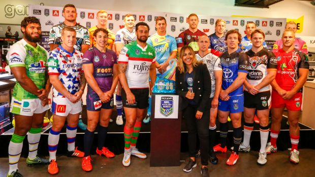 Showing their colours: The launch of the NRL Auckland Nine jerseys on Tuesday.