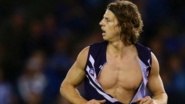 Unfortunately for some, Nat Fyfe's blow-up doll comes with shirt on.