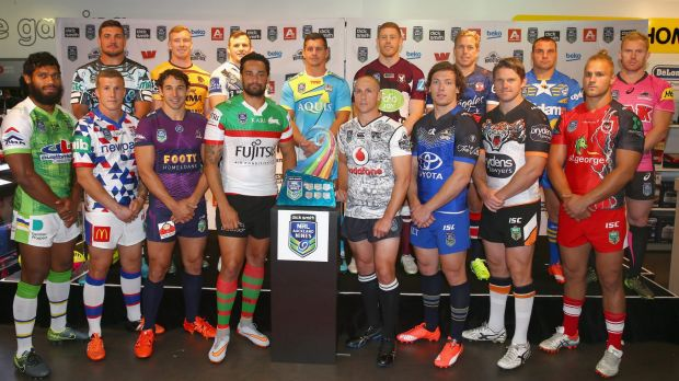 Canberra Raiders winger Sisa Waqa (left) with other team representatives at the launch of the Auckland Nines jerseys in ...