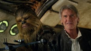 Ageless adventure: Chewbacca (Peter Mayhew) and Han Solo (Harrison Ford) in the new instalment,  Star Wars: The Force ...