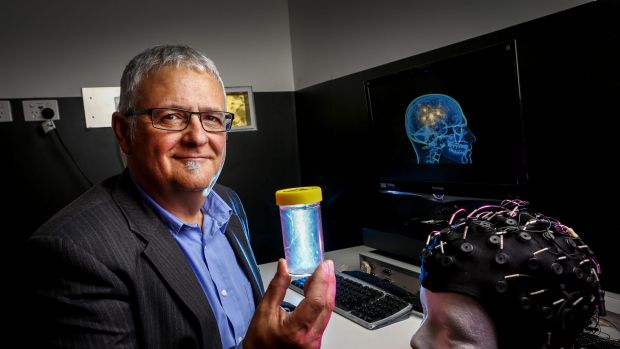 Researcher Dr Joeph Ciorciari at the Swinburne University with the hydrogel, which is the next generation of condoms ...