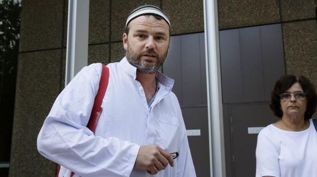 Cronulla memorial organiser Nick Folkes at court dressed in a mock Islamic outfit.