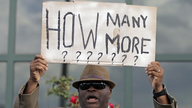 Protesting the shooting death of Walter Scott at a traffic stop in April, 2015.