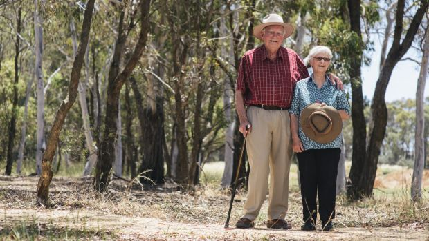 Bryan and Anne Furnass, of Hughes, at the new natural burial site at the Gungahlin Cemetery.