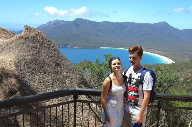 The glorious view of Wineglass Bay.