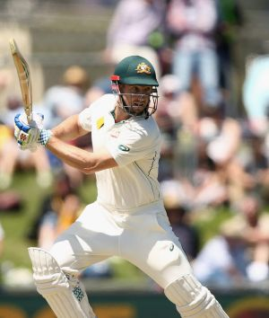 Shaun Marsh of Australia bats during day one of the First Test match between Australia and the West Indies at Blundstone ...